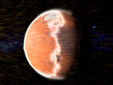 Solar wind stripping atmosphere from Mars, illustration