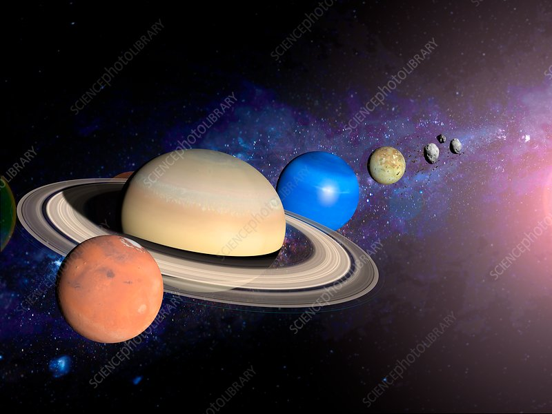 Planets, moon and asteroids, illustration