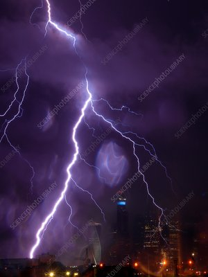 Electrical storm over Moscow, Russia