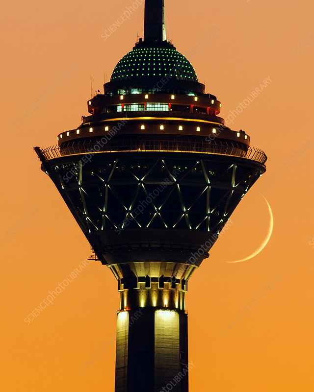 New moon and Milad Tower, Iran