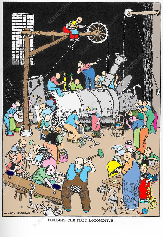 Building The First Locomotive by W. Heath Robinson