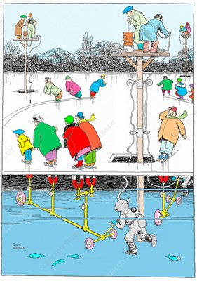 Magnetic skating by W. Heath Robinson