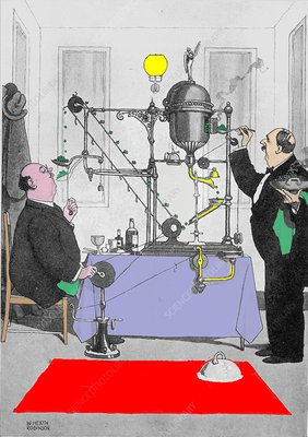 Pea machine by W. Heath Robinson