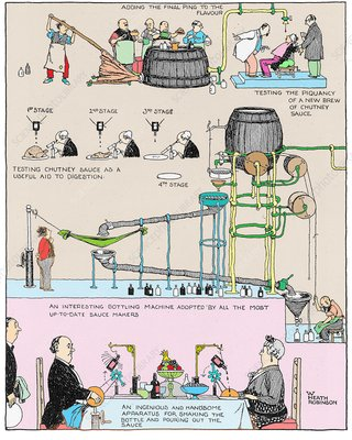 Testing sauce by W. Heath Robinson