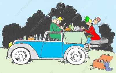 Car picnic by W. Heath Robinson by W. Heath Robinson
