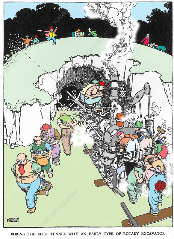Boring the first tunnel by W. Heath Robinson