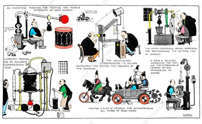 Cement testing by W. Heath Robinson