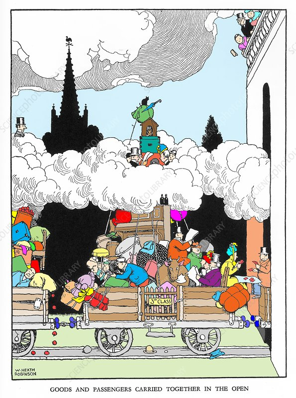 Goods and passengers carried together by W. Heath Robinson