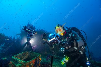 Diver with automated marine research cameras