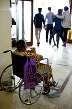 Wheelchair user in a hospital