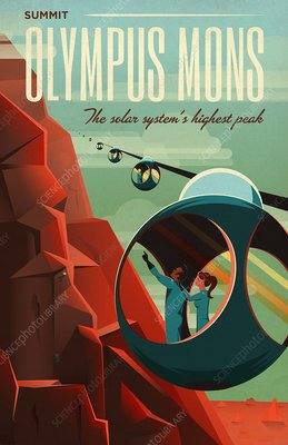 Poster for tours of Olympus Mons, Mars