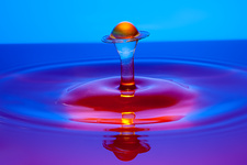 Water drop impact, high-speed photograph