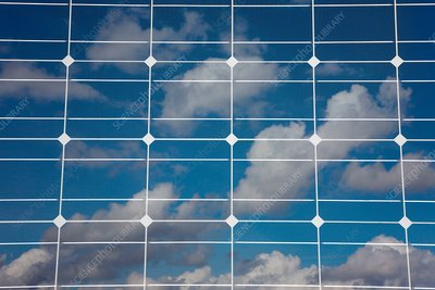 Solar panel with reflected clouds