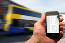 Smartphone and bus timetable