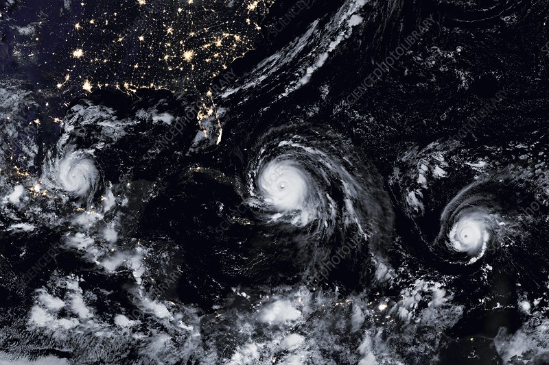 Hurricanes Irma, Jose and Katia, satellite image