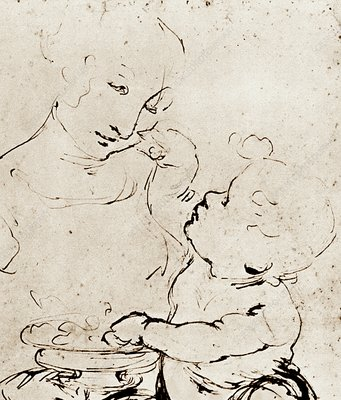 Mother and Child with a Bowl of Fruit