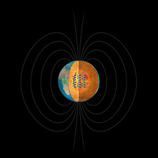 Earth's interior and magnetic field, illustration