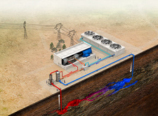 Geothermal power station, illustration