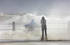 Sea spray during storm, Cape Town, South Africa