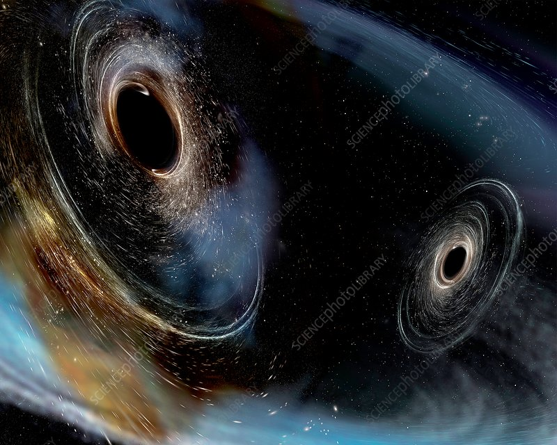 Merging black holes, illustration