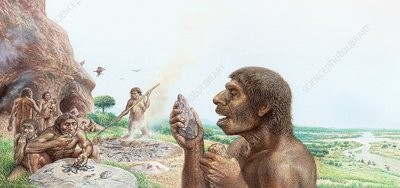 Neanderthals in Gibraltar, illustration