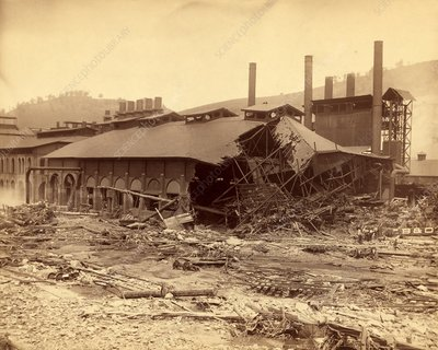 Ironworks damaged by Johnstown Flood, 1889