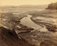 Empty reservoir after Johnstown Flood, 1889
