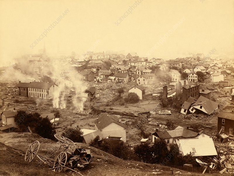 Buildings damaged by Johnstown Flood, 1889