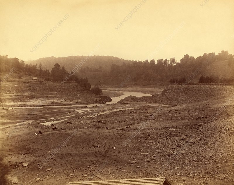 Failed dam that caused the Johnstown Flood, 1889