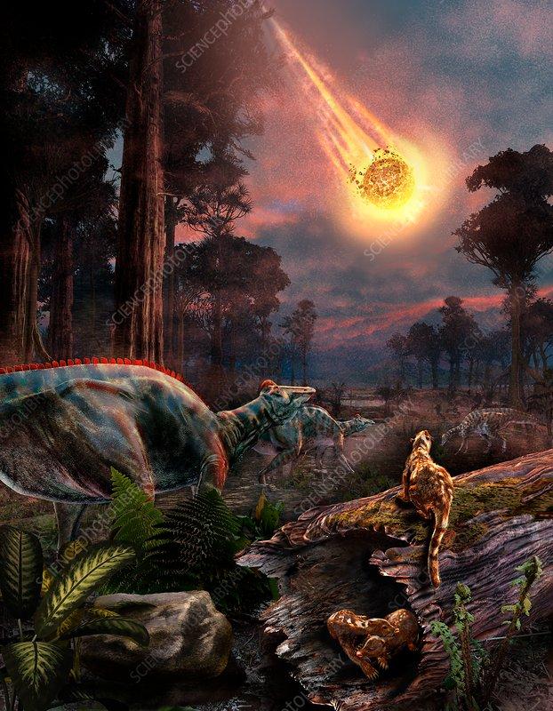 Extinction of the dinosaurs, illustration
