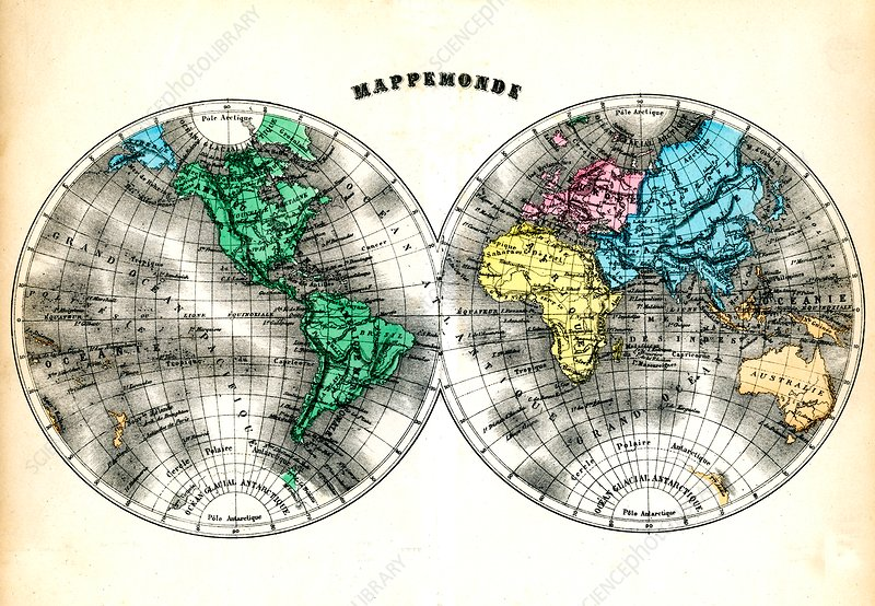 19th Century world map, illustration