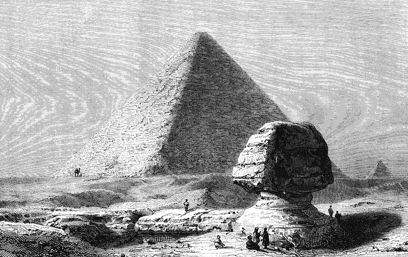Sphinx and Pyramid of Giza, Egypt, 19th Century illustration