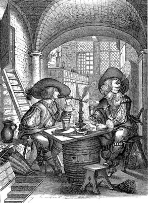 17th Century army officers, illustration