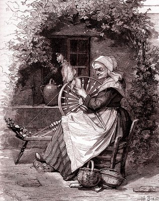 Old woman with spinning wheel, 19th Century illustration