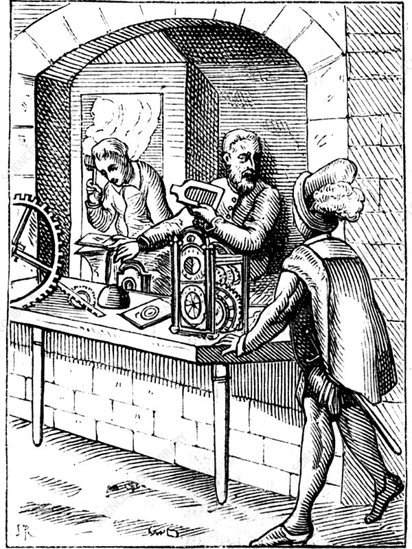 16th Century watchmakers, 18th Century illustration