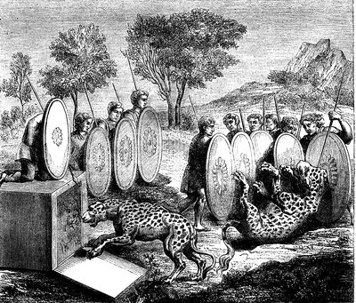 Hunting jaguars, 19th Century illustration