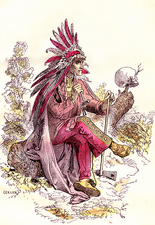 Native American smoking, 19th Century illustration