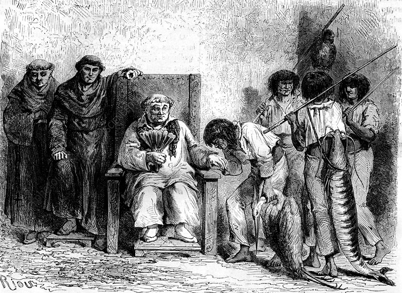 Mayans meeting monks, 19th Century illustration