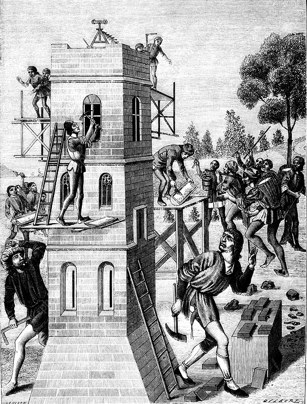 15th century builders, illustration