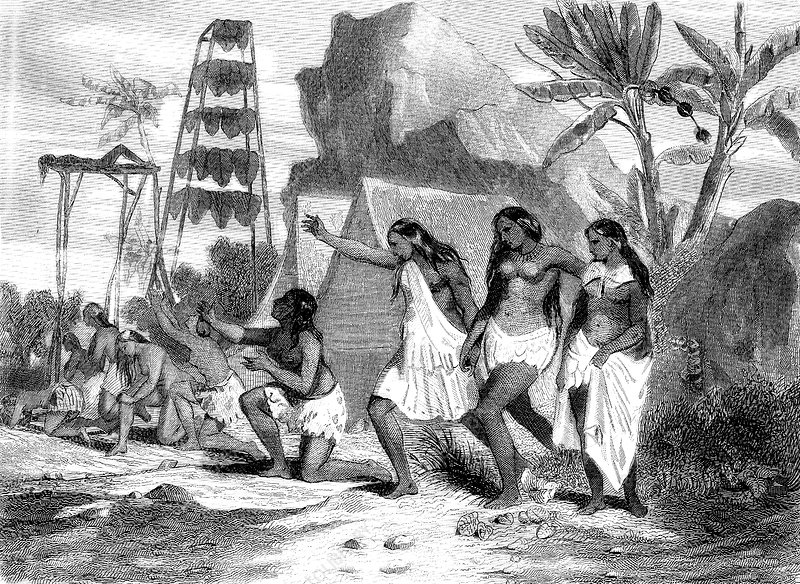 Sandwich Islands funeral, 19th Century illustration