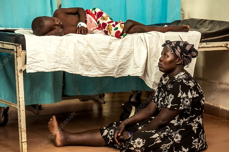 Mother and sick child in hospital