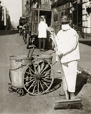 Street sweeper during Spanish Flu pandemic