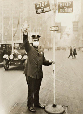 Traffic policeman during Spanish Flu pandemic