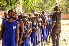 Schoolgirls queuing for vaccination