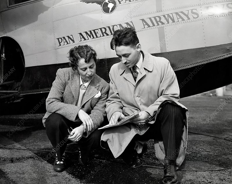 Brazilian female aviation expert with instructor, 1940s