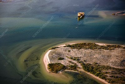 Fishing hut, Portugal, aerial photograph