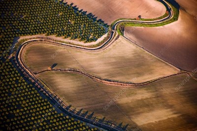 Irrigation canal, Spain, aerial photograph