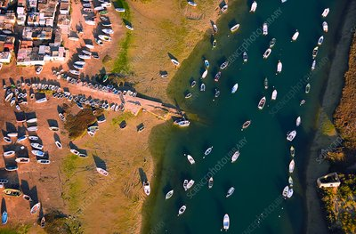 Fishing port, Spain, aerial photograph