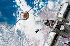 Cargo ship approaching the ISS, illustration