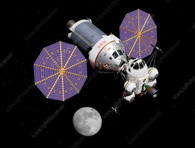 Crew exploration vehicle and lunar ascender, illustration